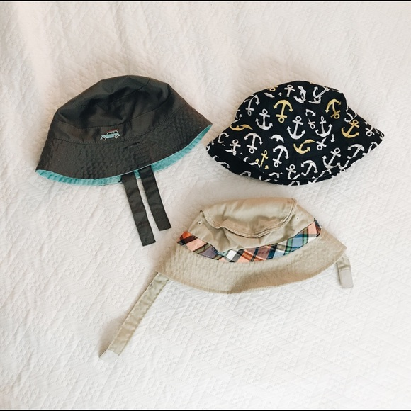 181a63b82a9 3 bucket hats 6-12 months  one reversible